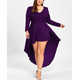 Fashionable plus size sexy lady long sleeve evening party dresses