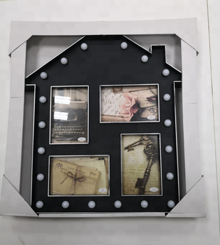 4 Opening 4x6 Plastic Picture Collage Frame With Led Light House