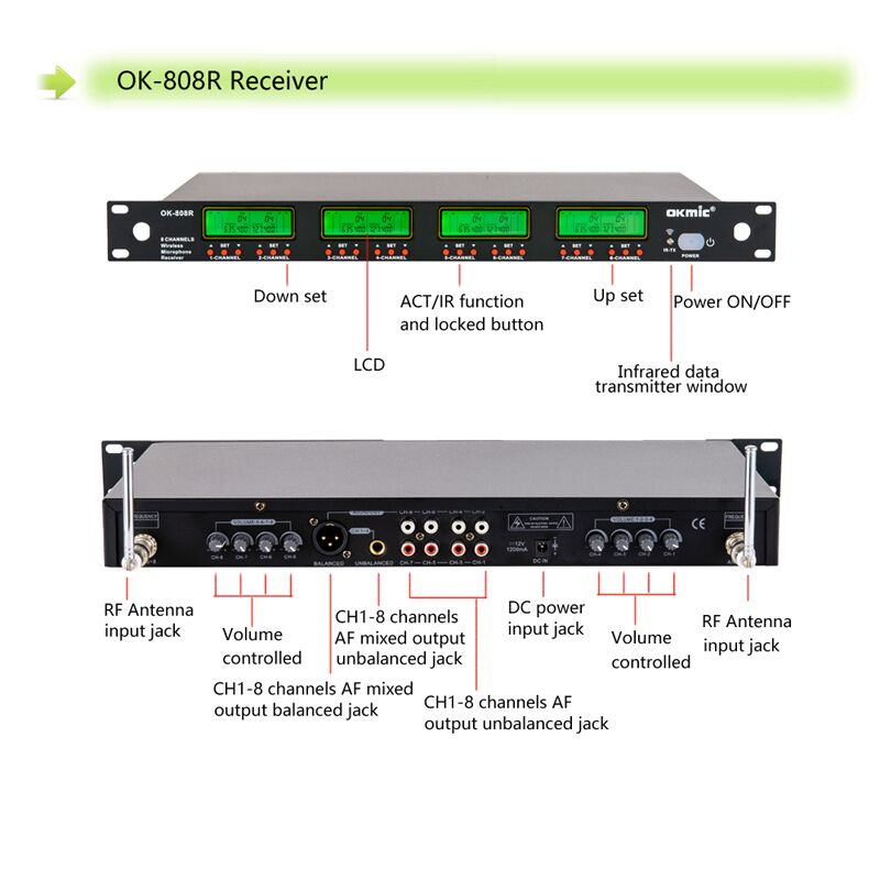OK-808 UHF/PLL eight Channels conference microphone system