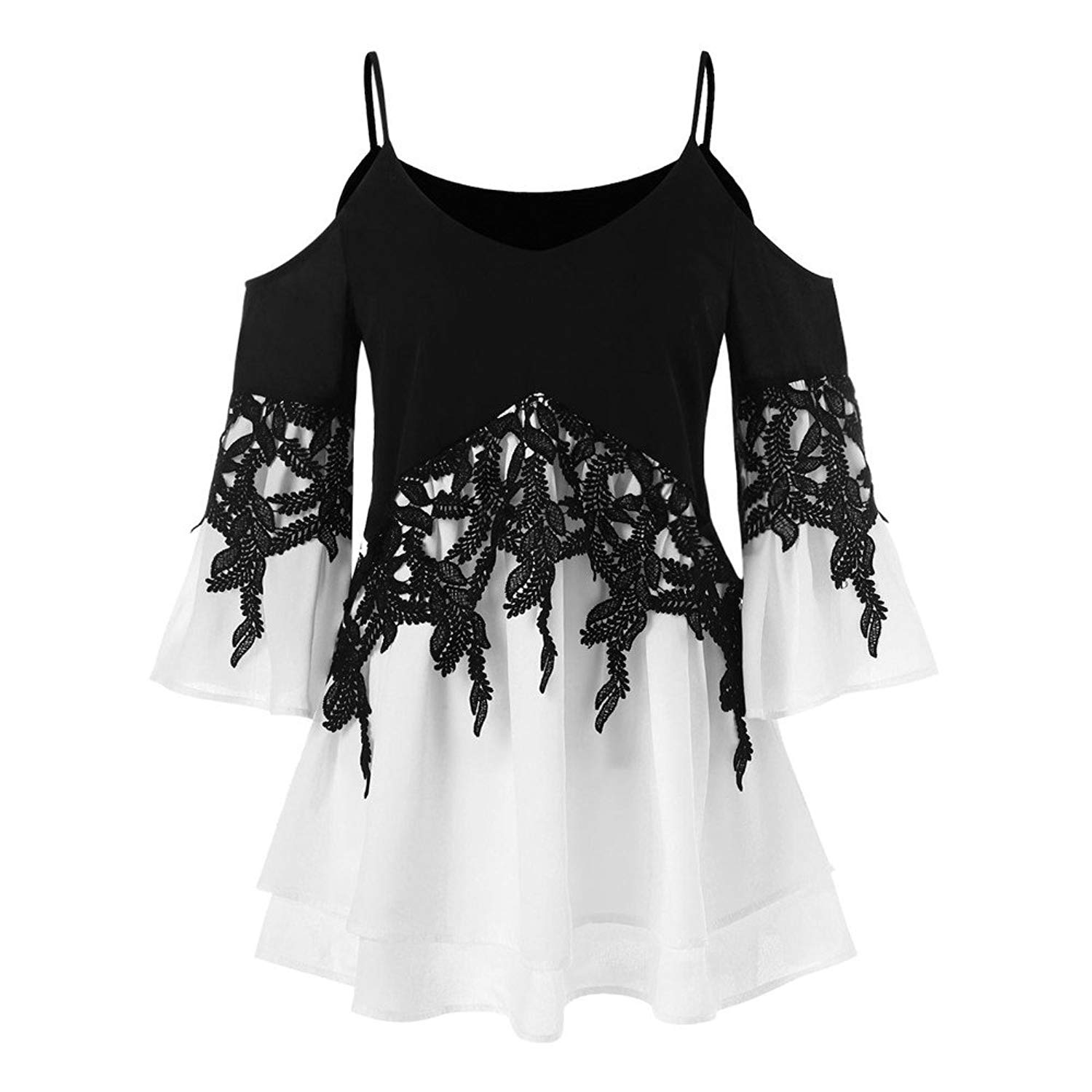 Shirts for Women Plus Size,Fashion Applique Flowy Chiffon T Shirts V-Neck Long Sleeve Blouse Tops Sweatshirt