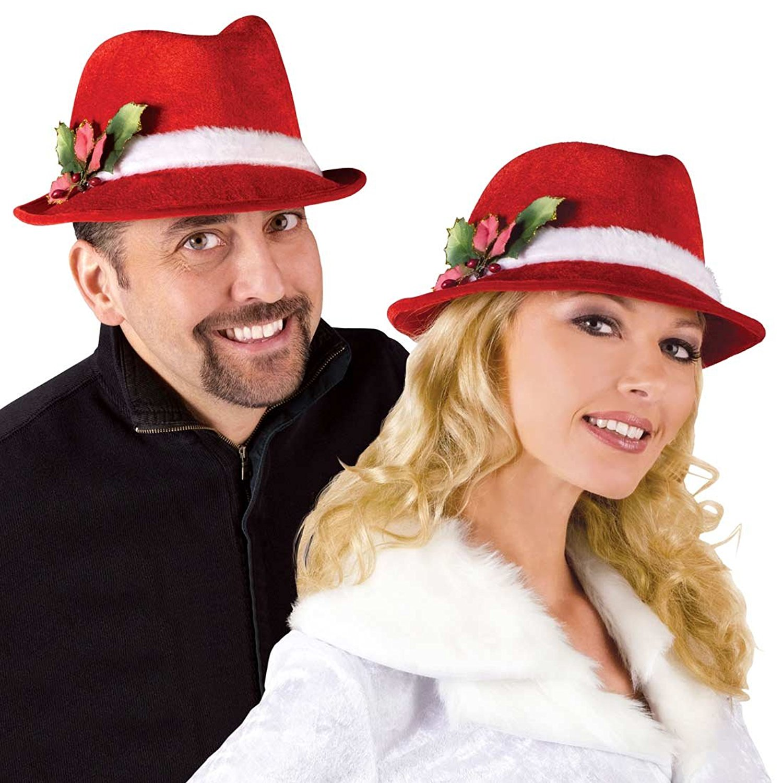 dff8f298b8114 Get Quotations · Plush Headband Fedora Christmas Hat - Adult Std.