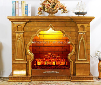 Classic Vintage Arabian Style Golden Wood Fireplace Surround BF11 09133d