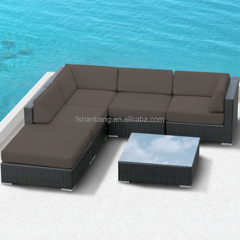 Rattan Outdoor Furniture Patio Wicker Black Sectional Modular Sofa