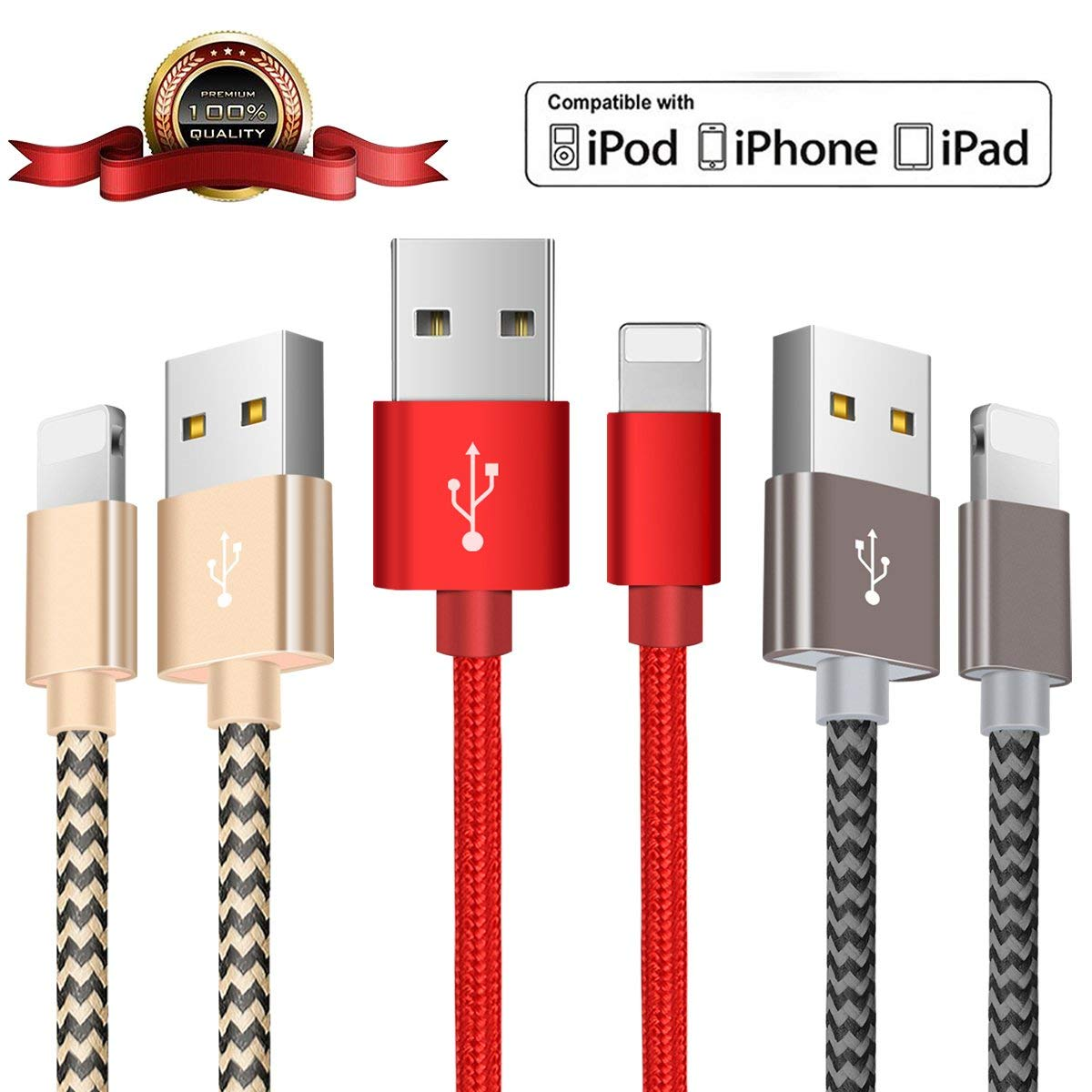 OTISA Charging Cable, Long Durable Nylon Braided Compatible Phone, Charging Cord to USB Charger Cable Compatible Phone X 8 8 Plus 7 7Plus 6s 6s Plus 6 6Plus 5 5s 5c SE