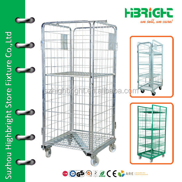 Folding warehouse steel rolling metal storage cage with wheels