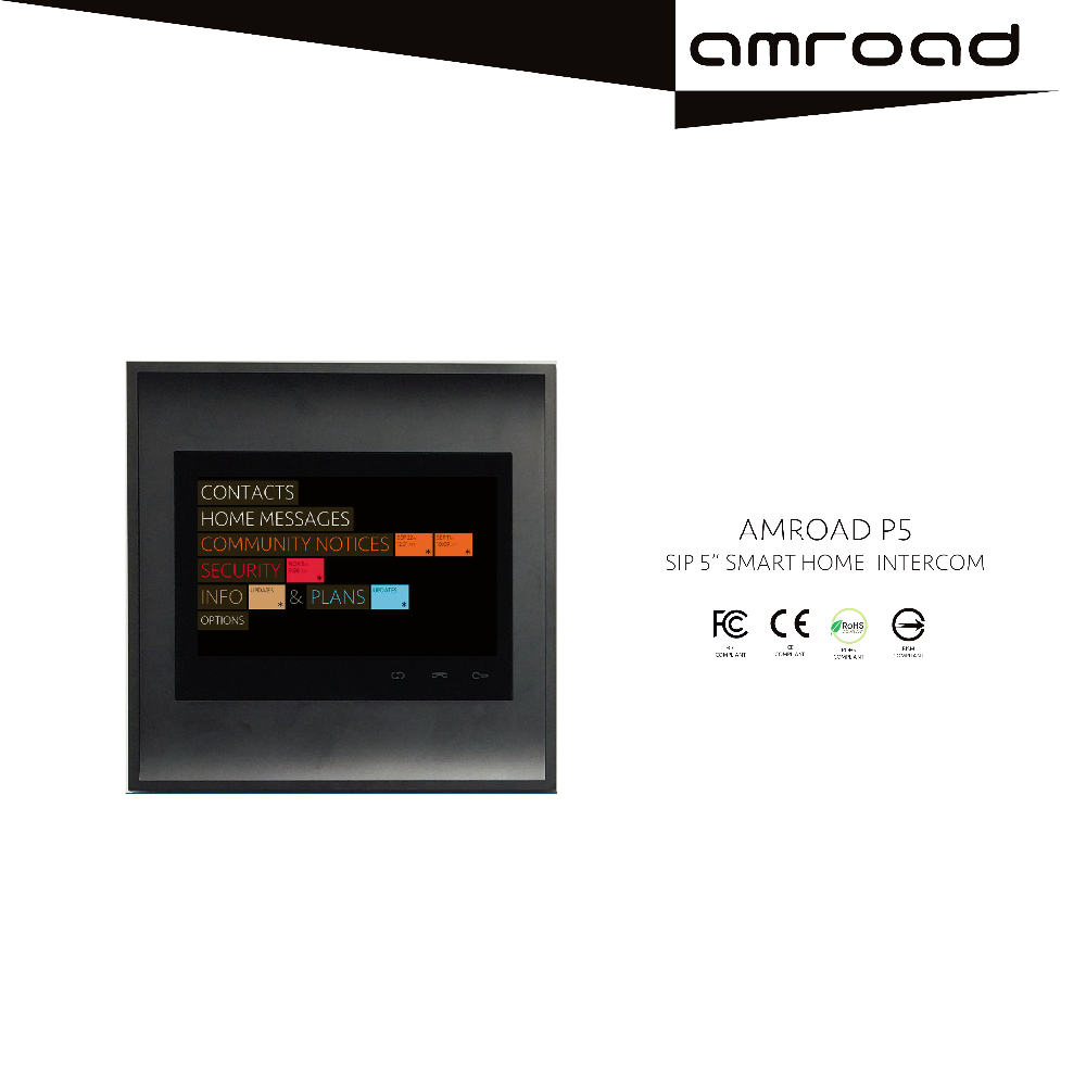 "5"" Capacitive touch panel SIP H.264 Video Home Station"