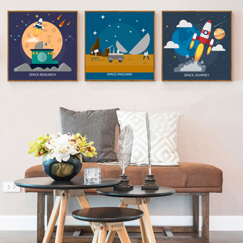 Modern Space Universe Canvas Painting Science Poster And Prints Nursery Wall Art Pictures For Kids Boys Room Home Decor No Frame Buy Canvas