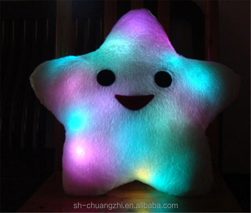 OEM Factory stuffed lovely fluffy decorative bedding Throwing folding LED lighting sparkling Creatvie Star Pillow Cushion
