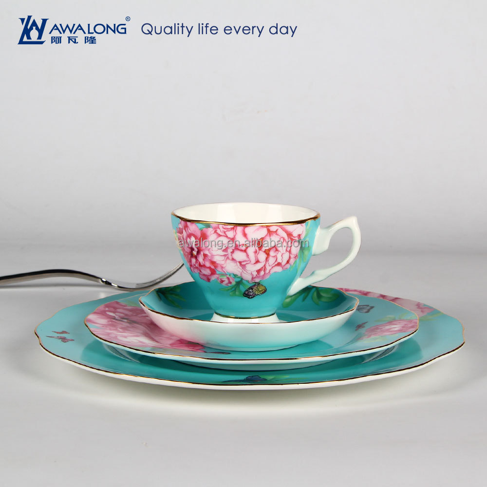 Blue Background Flower Pattern Elegant Fine Bone China Flat Blue Ceramic Cake <strong>Plate</strong>, Ceramic Christmas Tableware