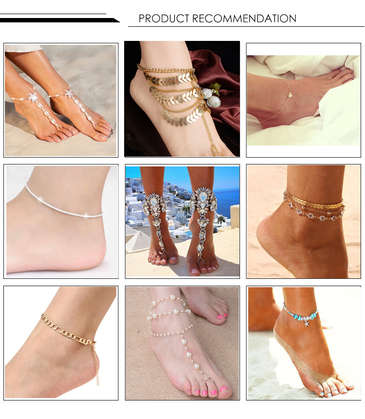 Fashionable anklets conch starfish pendant rice bead anklets beach anklets bracelet