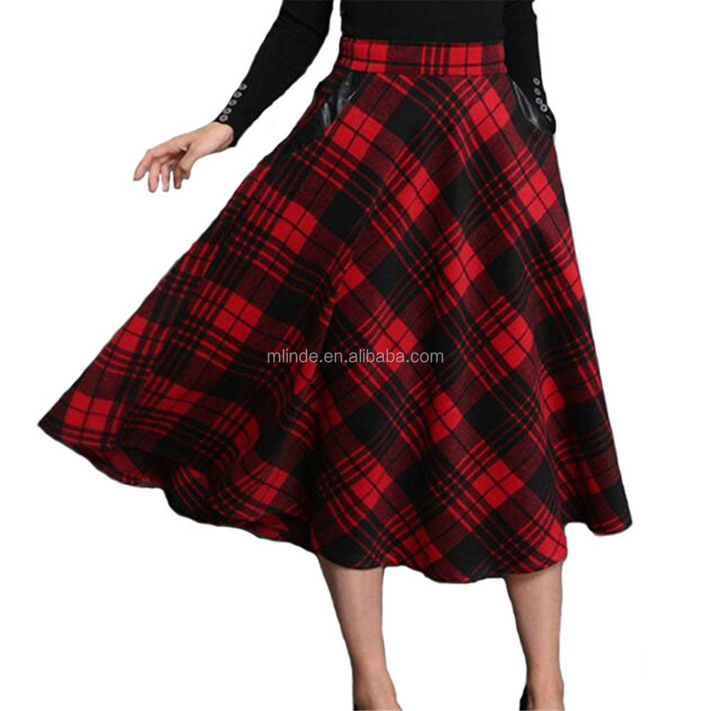 New Fashion Women's Vintage Geometric Thicken Suede Zip Up Midi Red Pleated Tartan Plaid Skirts Wholesale Custom Skirts