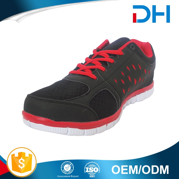 Black with red decoration factory price sport shoe men