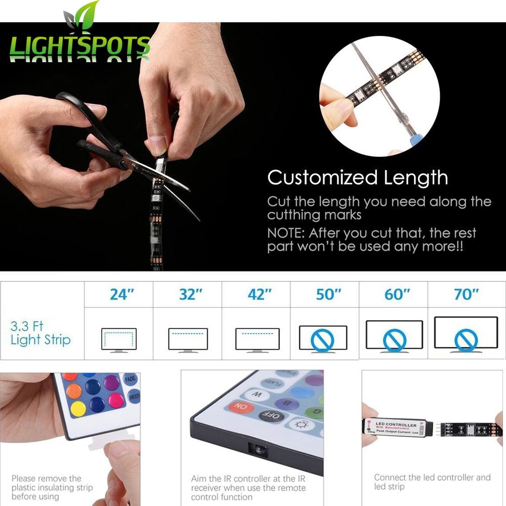 Amazon Hot Sales TV LED Backlight USB Strip Light set Bias Lighting for Flat Screen TV