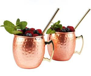 400ml Copper plated stainless steel mule mug with handle, single wall Moscow mule cup, drum shape Hand Hammered Copper Mug