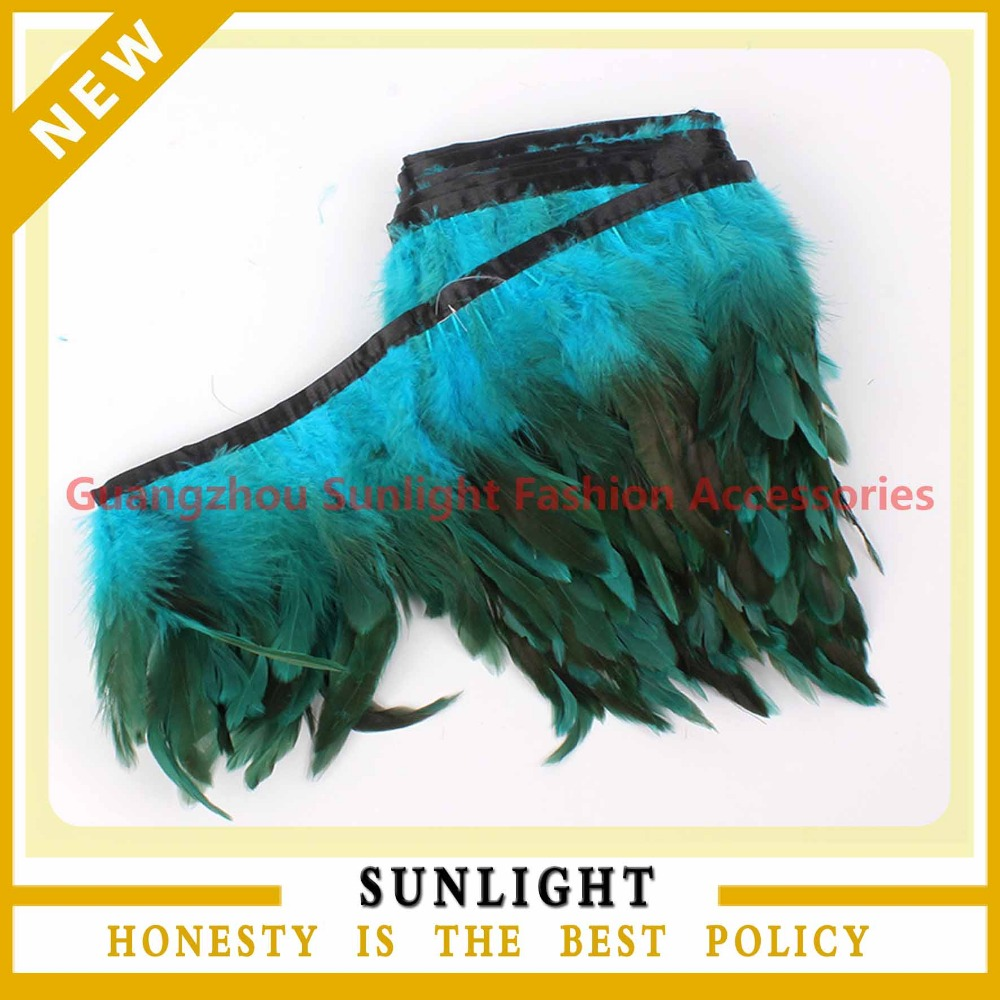 Turquoise Strung Rooster Hackle Feather Trim Chinchilla Rooster Trim