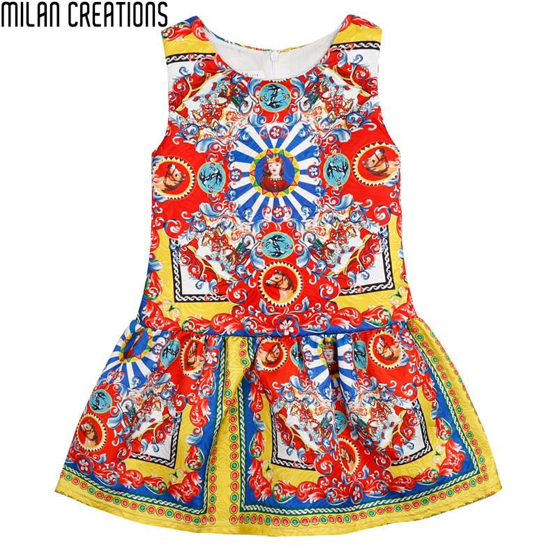 Toddler Girls Dresses 2016 Brand Kids Summer Dress Princess Caretton Print Kids Dresses for Girls Clothes