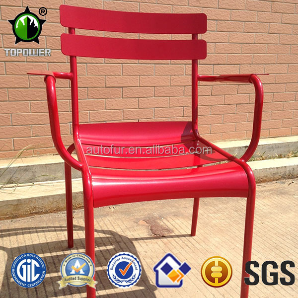 Modern red iron dining chairs with armrest