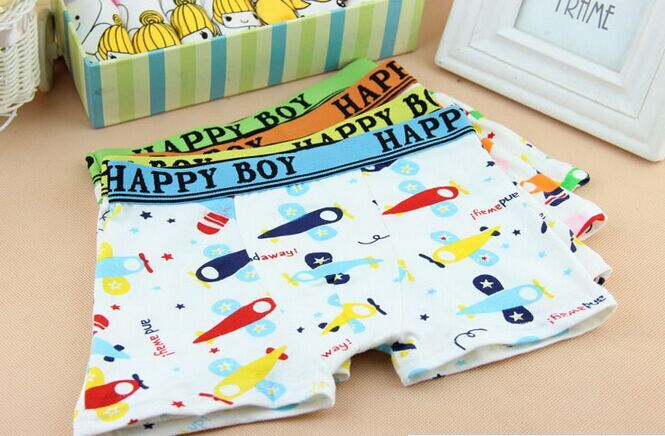 4pcs lot High Quality plane Print Children Boys Boxer Baby Cartoon underwear atnm0015