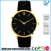 sophisticated fashion timepiece PVD gold stainless steel case luxury black italian leather strap custom watch face