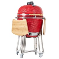 Portable Round Shaped Large Size Charcoal Ceramic Grill Kamado Smoker BBQ