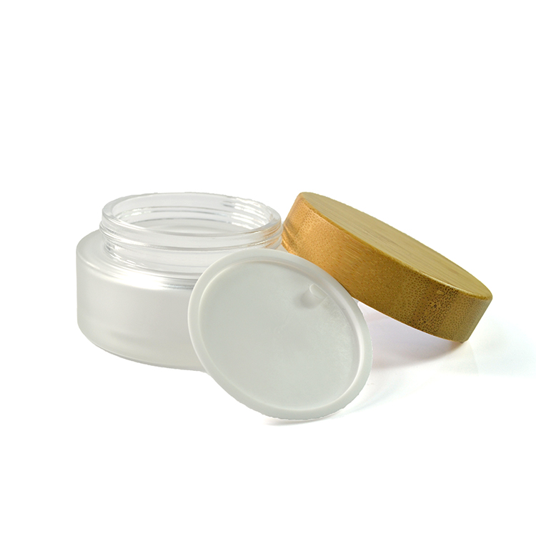 hot sales 5g 15g 30g 50g 100g cosmetics clear frosted glass cream jar with bamboo wooden lid