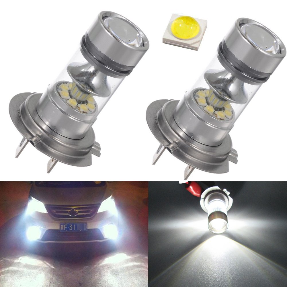 Pack of 2 H7 LED Fog Light Bulb 6000K White 20 SMD DRL CREE LED Replacement Driving Lights 1800 Lumens Super Bright