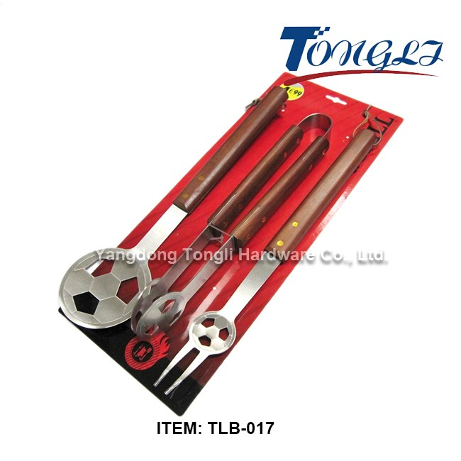 Tlb 012 classic stainless steel 3 piece bbq grilling set for Garden tool set for women