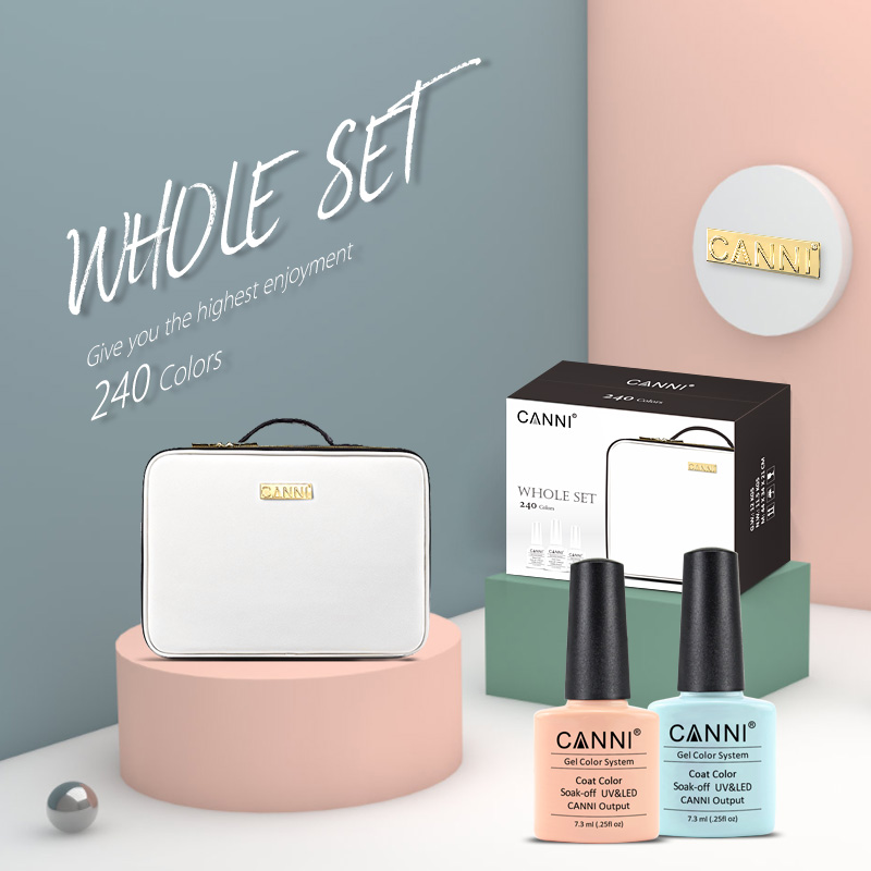 CANNI 240 colors whole set nail salon high quality gel nail polish soak off led uv nail gel polish base coat topcoat with bag