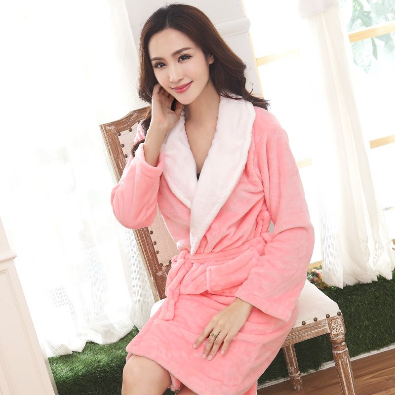 87e26d993b Get Quotations · 2015 women s flannel robe bathrobes autumn and winter long  design coral fleece sleepwear thickening lounge