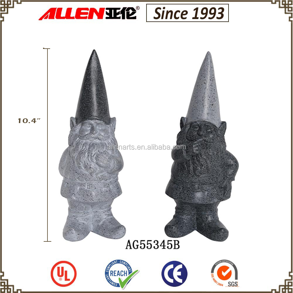 "10.4"" factory direct stone finish grey polyresin gnome for outdoor decoration"