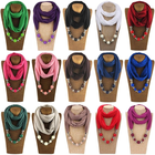 Fashion Colorful Design Pendant Scarf Alloy Jewelry Scarf Necklace Scarves R12