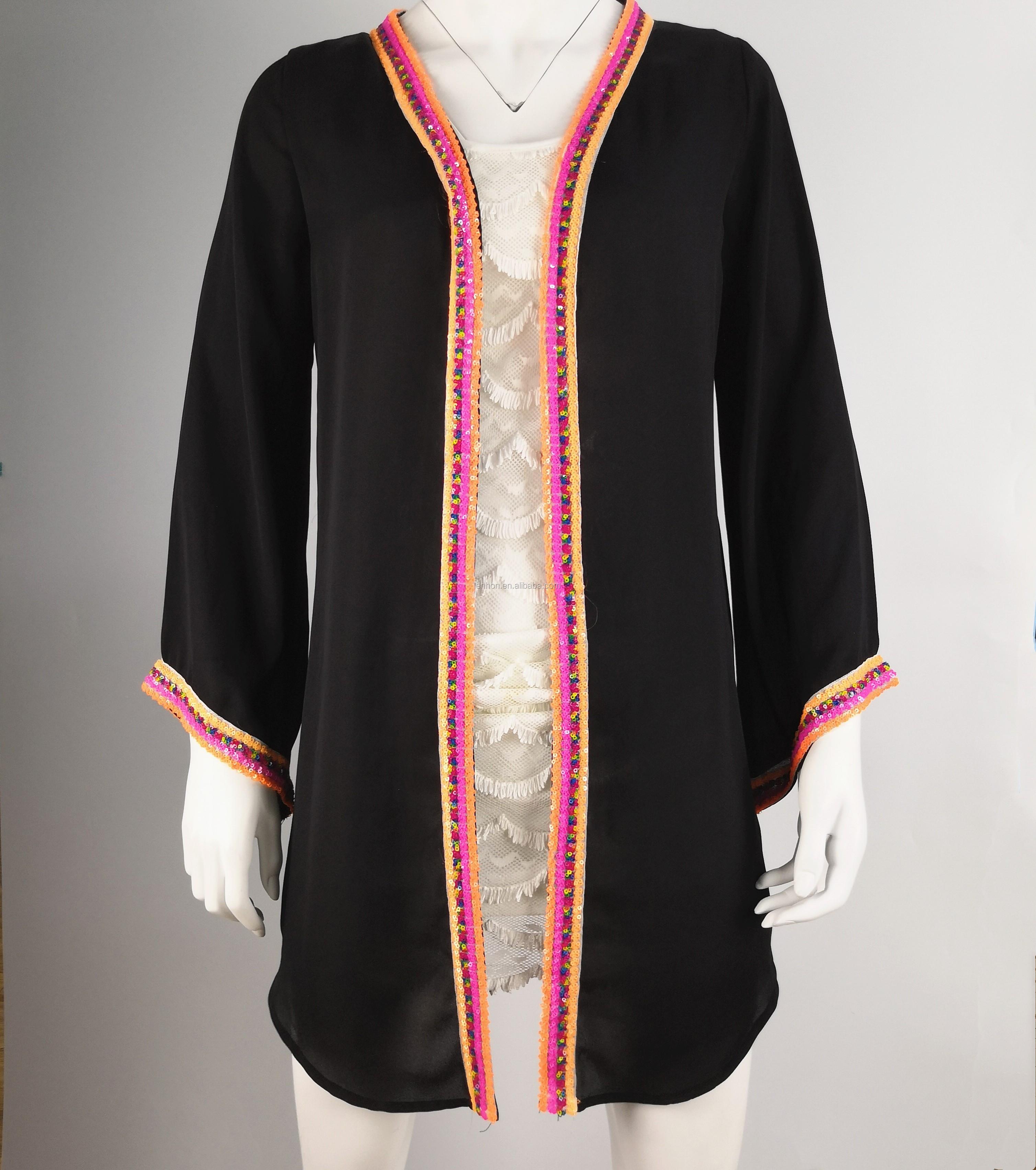 8e896bd144 China Fashion Ethnic Clothing OEM long dress chiffon new style Black kaftan  dress Open front long dresses for women