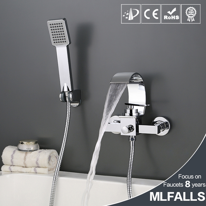Waterfall chrome finished wall mounted bath tub faucet hot and cold mixing valve