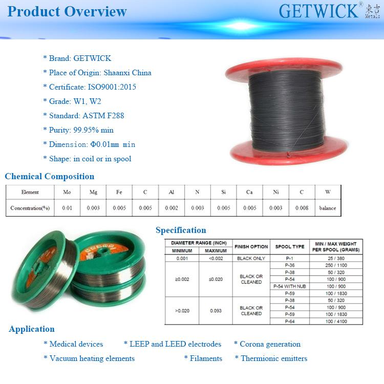 Producto de alambre de tungsteno