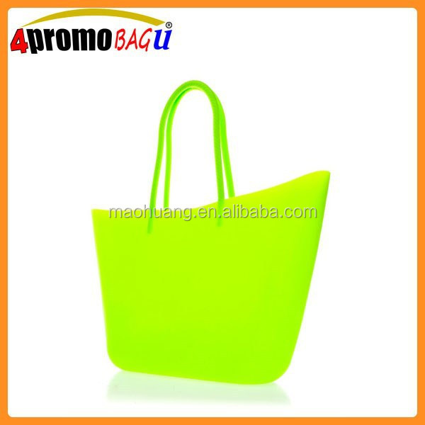 Two top handle large bright silicon beach bag, silicone tote bag
