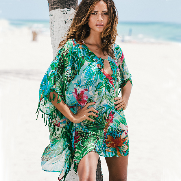 5a2f44d408 2018 Wholesale New Design Summer Holiday Vacation Honeymoon Floral Chiffon  Wedding Cover Up Beach Dress For