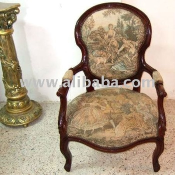 French Louis Xv Style Arm Chair With Gobelin Tapestry Fabric