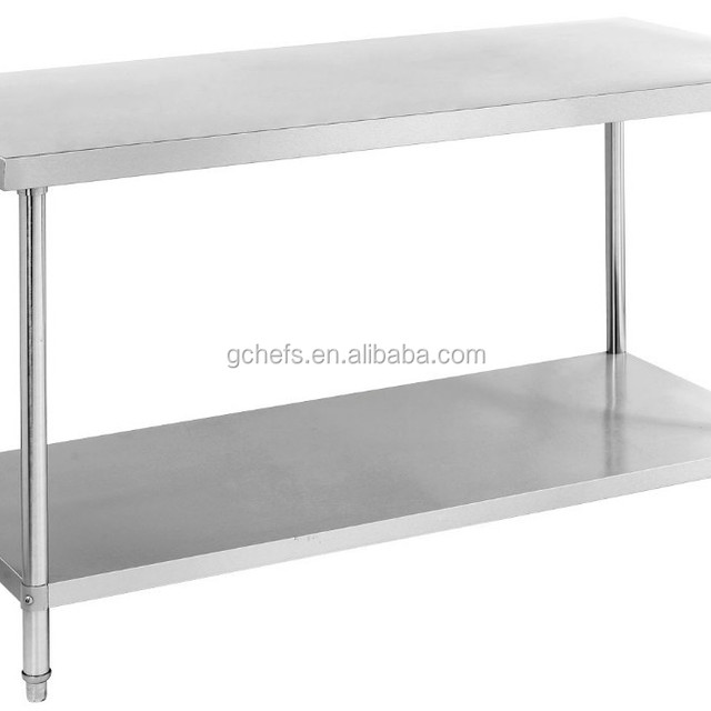 stainless steel kitchen fabrication work bench with under shelf
