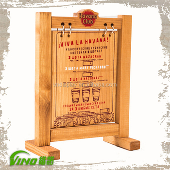 restaurant menu display stand wooden advertising board