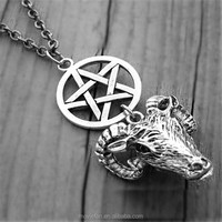 Silver Ram Head Necklace Pentagram Necklace Gothic Goth Witch Witchcraft Satanic Baphomet Goat's Head necklace