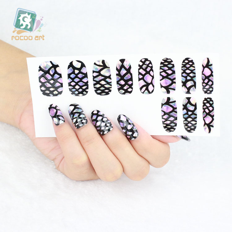 Yo 601latest Laser Shiny Nail Art Wraps Stickers Full Cover