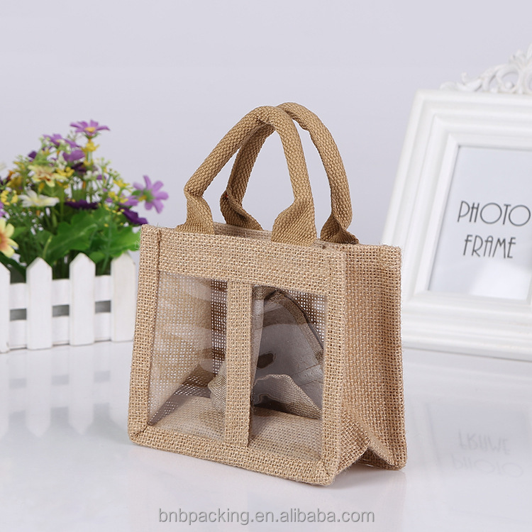 Cheap Burlap Tote Bags Jute Window Bags for Wine Carrying Low MOQ
