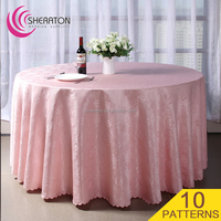 Manufacturer Cheap10 patterns Polyester wedding jacquard table clothes / banquet gold white design tablecloth linen overlay