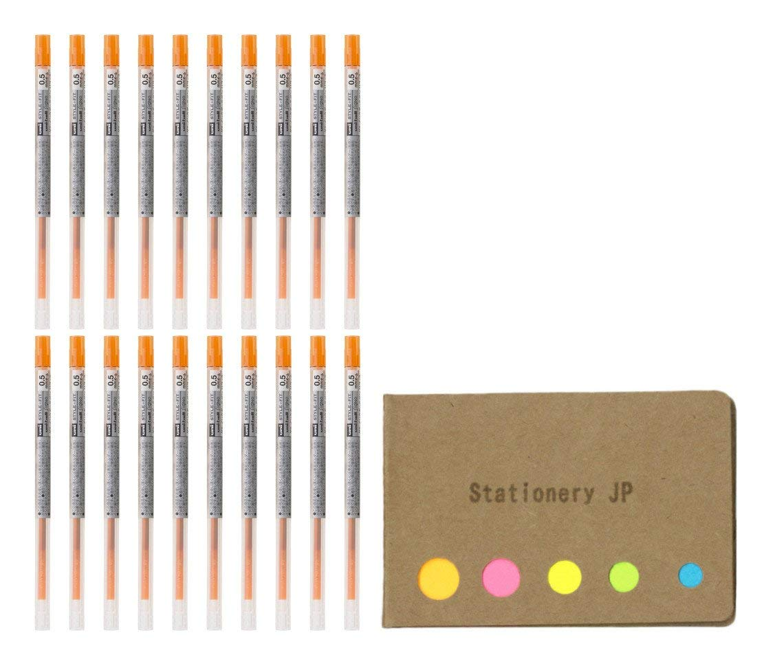 Uni-ball Signo Gel Ink Refills for Uni Style Fit Gel Multi Pen 0.5mm Orange Ink, 20-pack, Sticky Notes Value Set