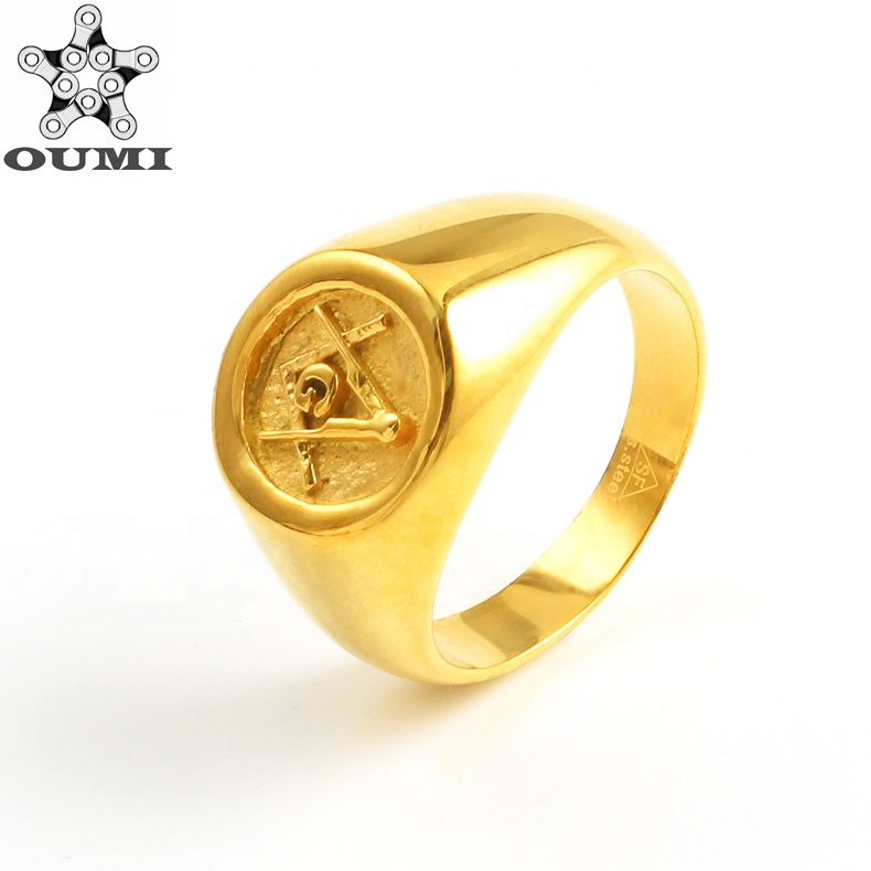 OUMI Custom Stainless Steel 보석 18 천개 금 Knights 기사단의 Mason Rings 대 한 망