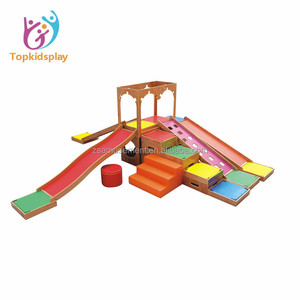 Indoor gymboree soft play mini wooden playground with slide for children