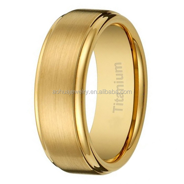 Latest Gold Ring Designs8MM Mens Titanium Plated Wedding Band With Flat
