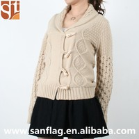 Wholesale Bulk OEM Polo Neck High Quality Fashion Cheap Custom Solid Women Cardigan with Zip & Horn Button Pattern Knit