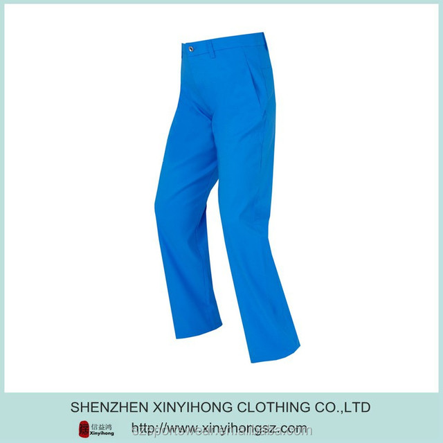 Bright blue color mens Cool dry fit Tech mens long golf pants/Golf trousers