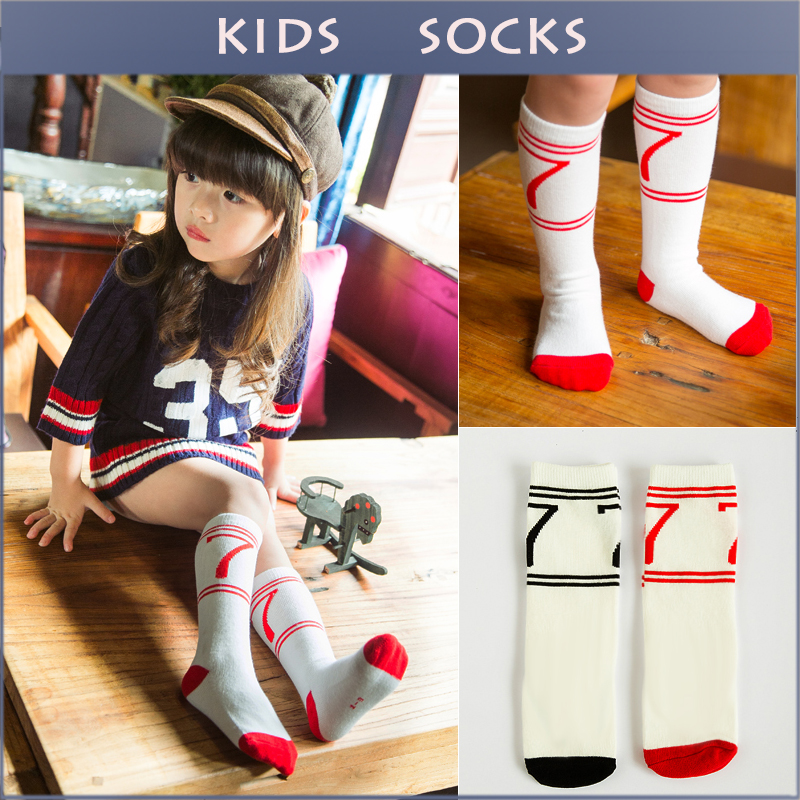 Lucky Num Pattern Cotton Kids Socks Soft Casual Kawaii Boys Girls Knee Long Socks Children s